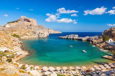 greece: Beautiful cove at St Pauls Bay Lindos Rhodes Greece Europe