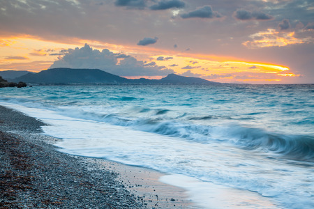 dodecanese: Sunset on the beach at Rhodes in the Dodecanese Greece Europe