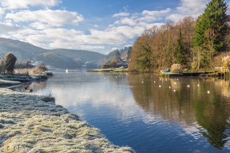 cornwall: Reflections in the River Lerryn Cornwall on a frosty morining. Stock Photo