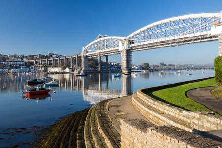 plymouth: Royal Albert Bridge designed by Isambard Kingdom Brunel as seen from Saltash Passage Plymouth Devon England UK Europe