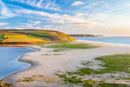 loe: Loe Bar and Loe Pool the largest natural body of fresh water in Cornwall near Porthleven England UK Europe