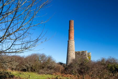 the world heritage: Engine house at Great Work Mine Godolphin Cornwall part of the UNESCO Cornish Mining World Heritage site.