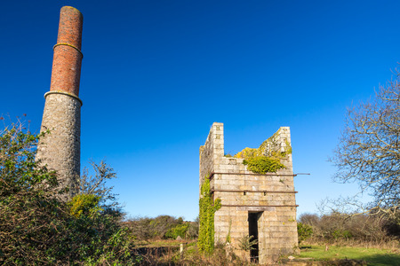world heritage site: Engine house at Great Work Mine Godolphin Cornwall part of the UNESCO Cornish Mining World Heritage site.