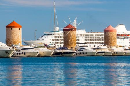 rhodes: Windmills at Mandraki Harbour Rhodes Greece Europe
