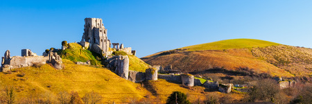 dorset: Panoramic shot of Corfe Castle in the village of the same name Dorset England UK Europe