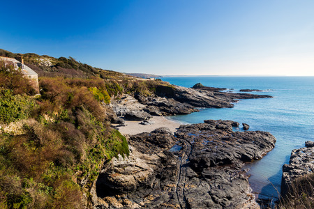 cove: Overlooking the beach at Prussia Cove Cornwall England UK Europe Stock Photo