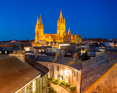 Rooftop view of Truro Cornwall England with the Cathedral illuminated at dusk Stok Fotoğraf