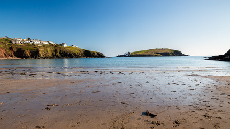burgh: The beautiful beach at Challaborough Bay with Burgh Island in the distance Devon England UK Europe
