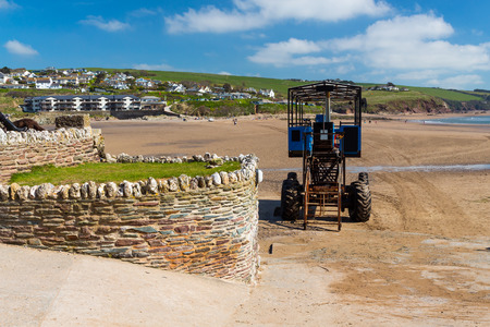 burgh: Sea tractor that links Burgh Island to Bigbury-on-Sea Devon England UK Europe Stock Photo