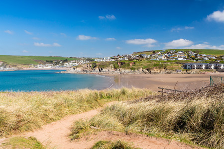 burgh: View towards Challaborough Bay from Burgh Island, South Hams Devon England UK Europe