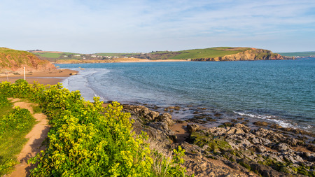 hams: Costa costa en Bigbury-on-Sea South Hams de Devon Inglaterra Reino Unido Europa