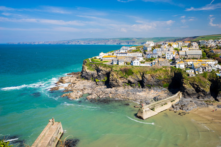 Overlooking the harbour at the pretty fishing village of Port Isaac on the North Cornwall coast, England UK Europe Stock Photo