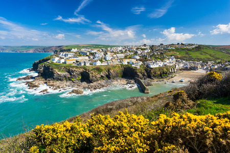 Overlooking the harbour at the pretty fishing village of Port Isaac on the North Cornwall coast, England UK Europe photo