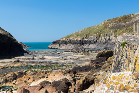 quin: The rocky foreshore at Port Quin near Port Isaac Cornwall England UK Europe