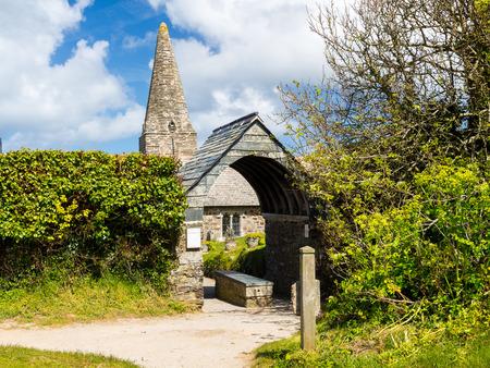 laureate: The 12th century St Enodoc Church Trebetherick, resting place of Poet Laureate Sir John Betjeman. Cornwall England