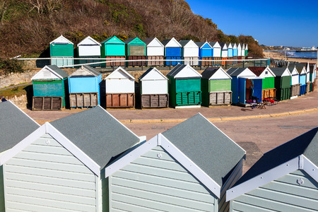 chine: Beach huts at Middle Chine beach Bournemouth Dorset England UK Europe