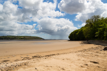 estuary: Llansteffan a village located on the  River Tywi estuary Carmarthenshire Wales UK