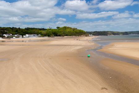 pembrokeshire: View along Saundersfoot Beach Pembrokeshire Wales UK Europe