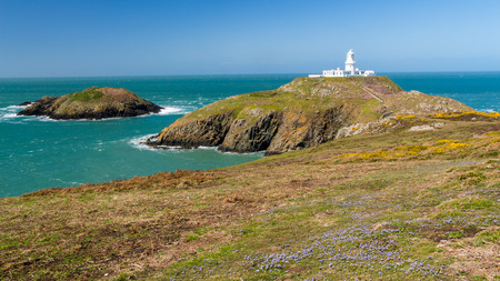 lighthouse: Strumble Head and the 1908 Lighthouse on the Pembrokeshire coast of Wales UK Europe Stock Photo