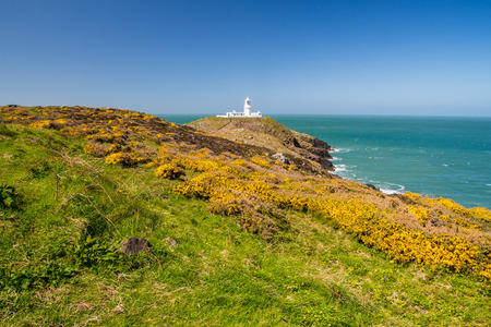 pembrokeshire: Strumble Head and the 1908 Lighthouse on the Pembrokeshire coast of Wales UK Europe Stock Photo