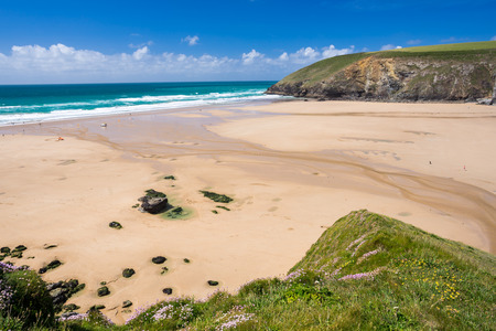 cornish: Overlooking the golden sandy beach at Mawgan Porth near Newquay Cornwall England UK Europe Stock Photo