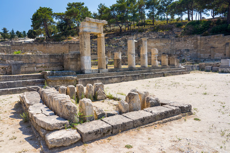 dodecanese: Doric Temple at  Ancient Kamiros on the Aegean coast of Rhodes, Dodecanese Greece Europe