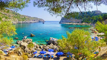 Overlooking the beautiful beach at Anthony Quinn Bay Rhodes Greece Europe 版權商用圖片