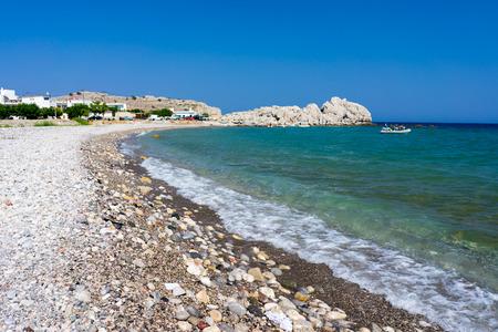 dodecanese: The Beautiful Haraki Beach Rhodes Dodecanese Greece Stock Photo