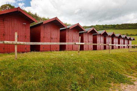 beach huts: Beach huts at Branscombe on the Devon Coast England UK Europe Stock Photo