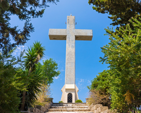 dodecanese: Steps to the giant cross on the observation deck at  Mount Filerimos Rhodes Dodecanese Greece Europe
