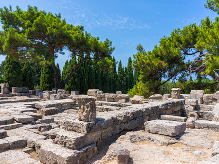 athena: The ruins of the Temple of Athena Polias at Filerimos Rhodes Greece Europe