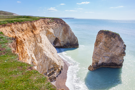 wight: Dramatic chalk cliffs at Freshwater Bay on the Isle Of Wight England UK Europe Stock Photo