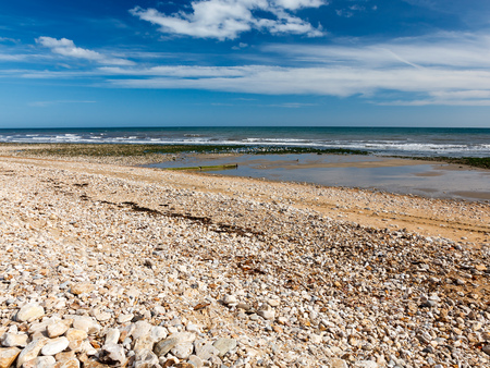 dorset: View along the beach at Charmouth on the Jurassic coast of  Dorset England UK Stock Photo