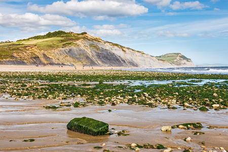 jurassic coast: View along the beach at Charmouth on the Jurassic coast of  Dorset England UK Stock Photo