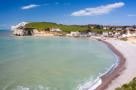 wight: Overlooking the beach at Freshwater Bay on the Isle Of Wight England UK Europe