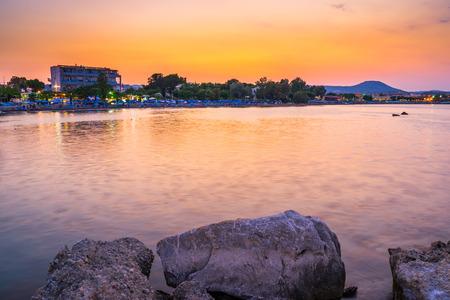 dodecanese: Sunset over the coast of Faliraki  Rhodes, Dodecanese Greece Europe