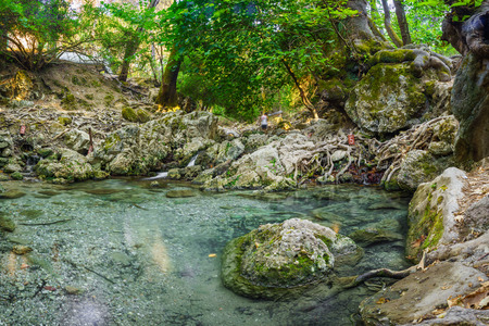 dodecanese: The beautiful Valley of the Seven Springs Epta Piges at natural attraction on the Island of Rhodes, Dodecanese, Greece Europe