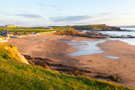 cornwall: Overlooking Crooklets Beach Bude at Sunset Cornwall England UK Europe