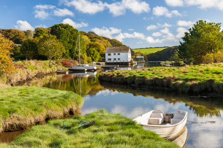 The picturesque village of Gweek located at the head of the Helford River Cornwall England UK Europe
