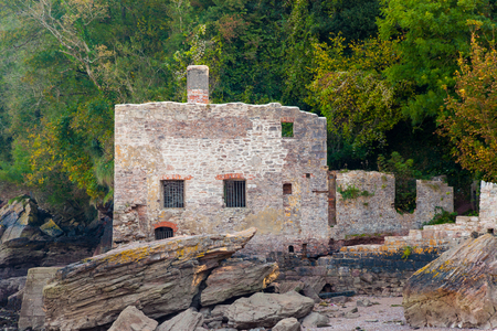 bath house: The ruins of Lord Churstons Bath House at Elberry Cove Brixham Devon England UK Europe