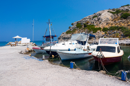 dodecanese: Fishing boats moored at Kolymbia Rhodes Dodecanese Greece Europe Stock Photo