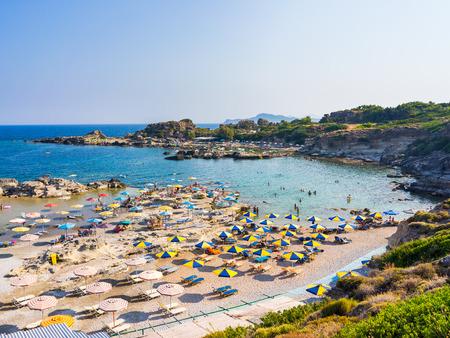 europe: Overlooking Tassos Beach near Faliraki Rhodes Dodecanese Greece Europe