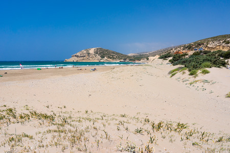 dodecanese: The golden sandy beach at Prasonisi on Rhodes Island  Dodecanese Greece Europe Stock Photo