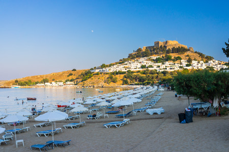 dodecanese: The beautiful beach at Lindos Rhodes Dodecanese Greece Europe