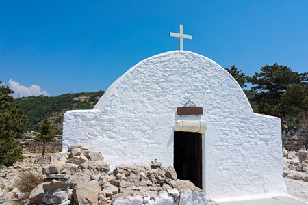 dodecanese: The 1476 Saint Panteleimon Chapel at Monolithos Castle on the Greek Island of Rhodes Dodecanese Greece Europe
