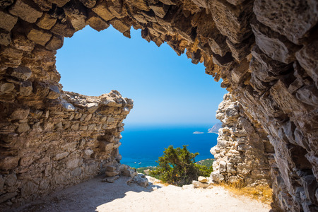 dodecanese: View out through the remains of Monolithos Castle on the Greek Island of Rhodes Dodecanese Greece Europe
