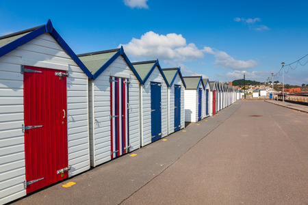 beach huts: Colourful beach huts on Preston Sands promenade Paignton Torbay Devon England UK Europe
