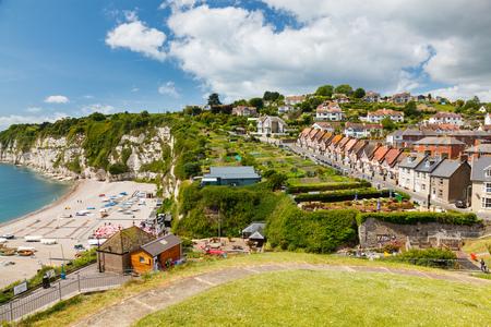 gb: Overlooking the beach village at Beer in Lyme Bay Devon England UK Europe