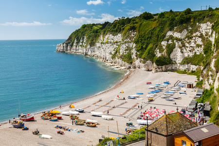 gb: Overlooking the beach and cliffs at Beer in Lyme Bay Devon England UK Europe Stock Photo