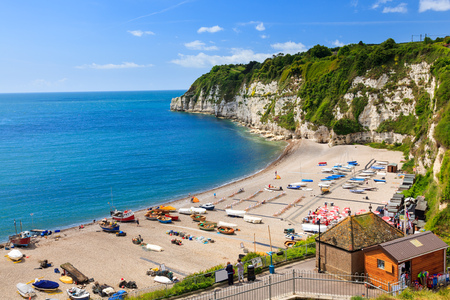 lyme: Overlooking the beach and cliffs at Beer in Lyme Bay Devon England UK Europe Stock Photo
